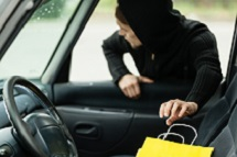 Person stealing bag from car